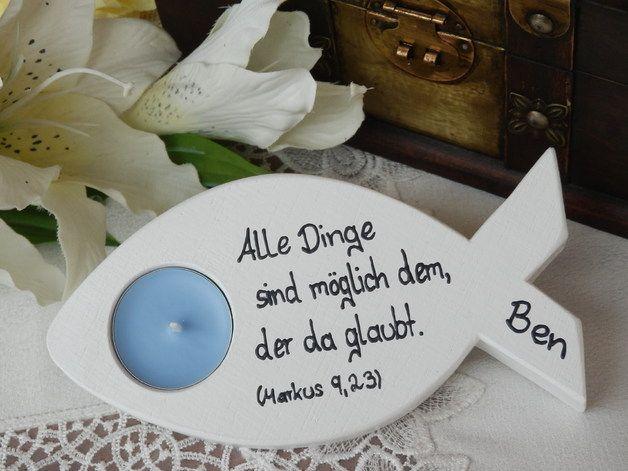 Auf der Suche nach einer Tischdekoration, einem kleinen Geschenk für die Taufe, Kommunion, Konfirmation, Firmung??  Dann sind Sie hier genau richtig!  Dieser Teelichthalter in Form eines...