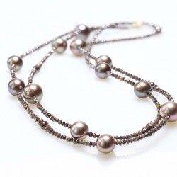 Gellner Brown Diamond Beaded Necklace with Tahitian Pearls