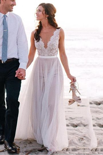 Fascinating Sweep Train V-neck Ivory Zipper Tulle Beach Wedding Dresses
