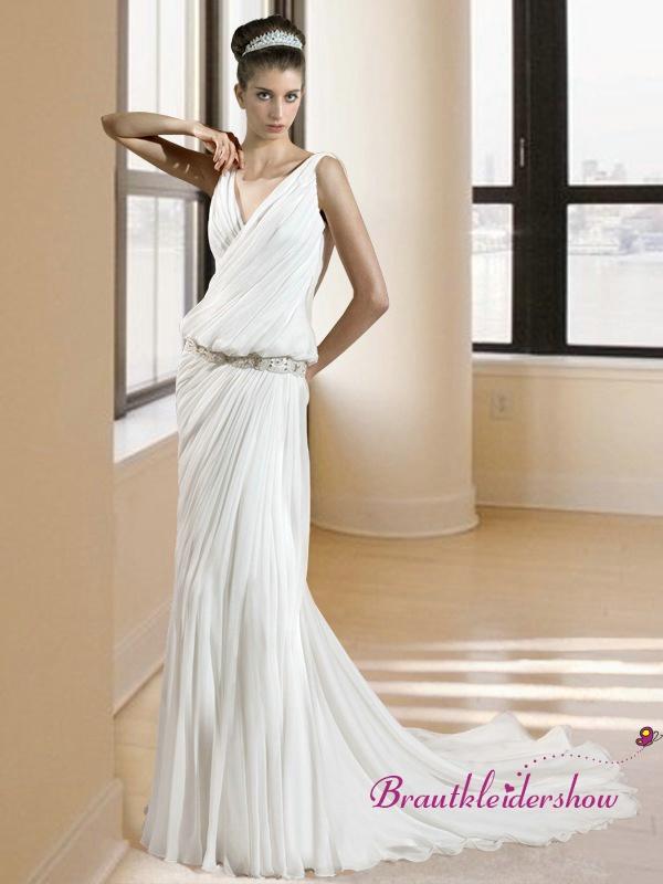 Fließend Brautkleid aus Chiffon Sexy V-Ausschnitt Griechisch GWRW119 ...