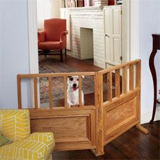 "DIY freestanding dog gate with very detailed instructions. Easily customizable to the size of your furry baby and the door opening you are trying to enclose. Could use any type of wood or paint it to match your decor. From http://www.thisoldhouse.com on ""How to Build a Dog Gate""."