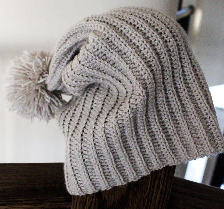 Extra Thin Slouch Pom Pom Beanie-Free Pattern-Emmy's Crochet