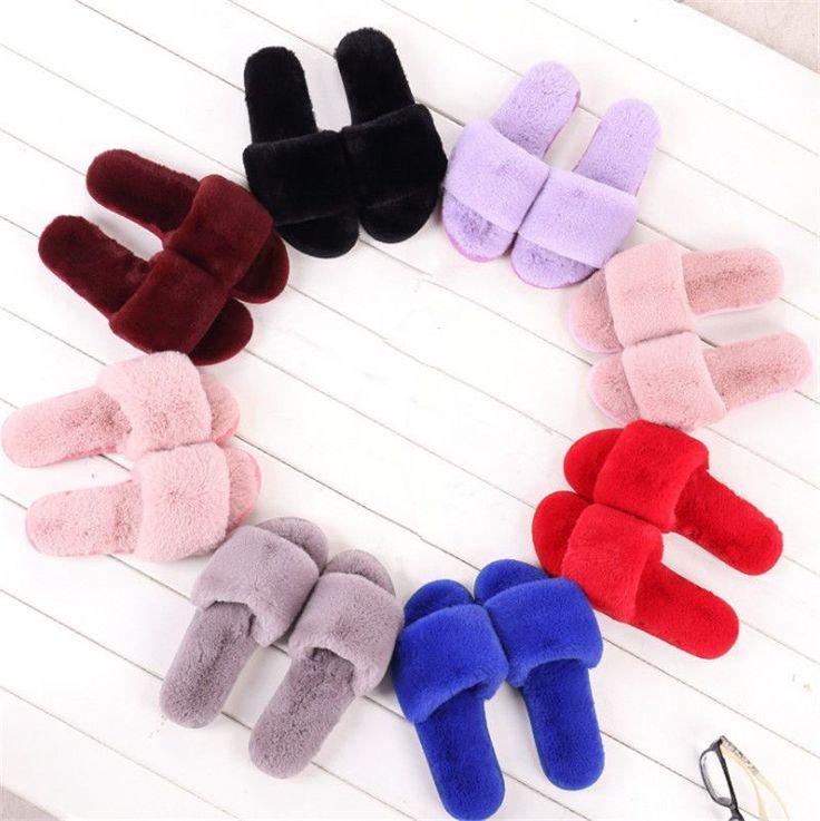 Women Winter Home Indoor Soft Plush Slippers Sandal House Bedroom Floor Shoe