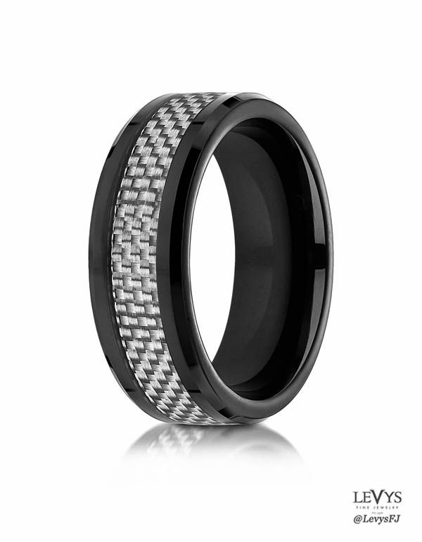 this black cobalt wedding ring features a woven pattern white carbon fiber inlay for an exquisite look - Cobalt Wedding Rings