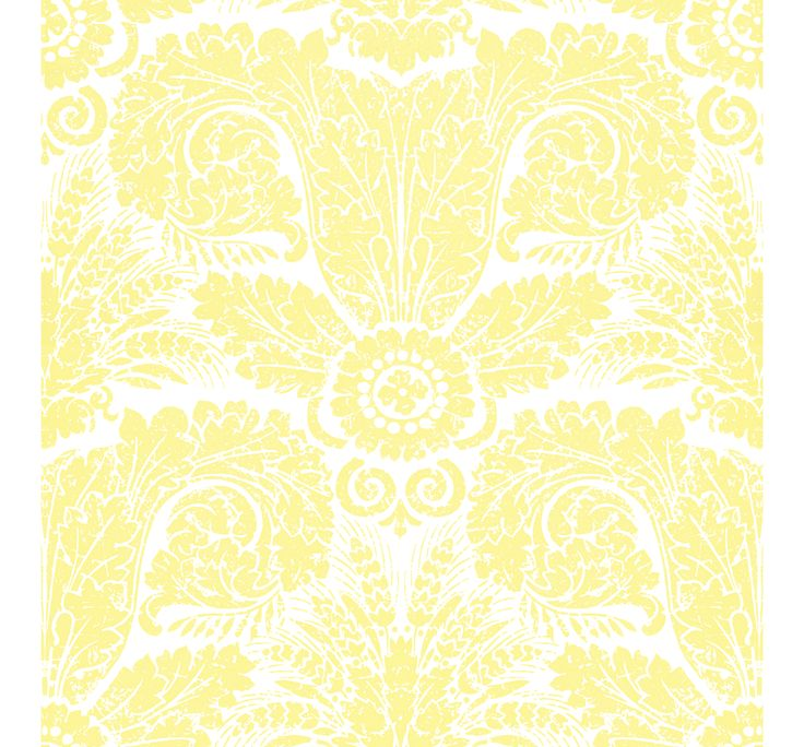 WH154 03  Wheat Damask  Yellow on White by Waterhouse Wallhangings