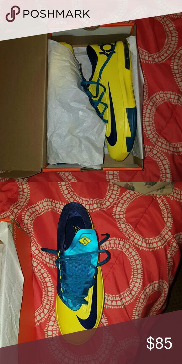 KD Sneakers Neon yellow and teal Nike KD sneaker ( worn once) kids size 6 Nike Shoes Athletic Shoes