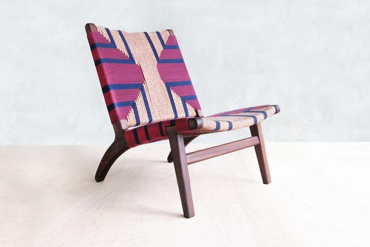 Mid-Century Modern Woven Lounge Chair.  A Danish / Scandinavian inspired design handmade from solid tropical hardwood.