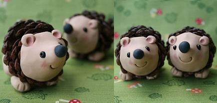 Polymer clay hedgehog pinecone (seal pine cone before attaching clay bits)