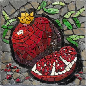 STOLEN. PLEASE NOTIFY ME IF YOU SEE THIS PIECE. 'Winter Fruit: Pomegranate' This mosaic is created with hand-cut Venetian and Mexican smalti, the traditional mosaic glass of Europe, glass tile and slate. The design is ungrouted for a highly textured effect.  The piece is approximately 8″ square, signed on the back, and includes hanging hardware.