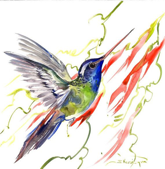 Hummingbird painting 12 x12 inbright color flowers by ORIGINALONLY
