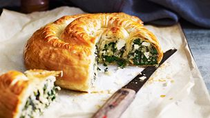 Rice and silverbeet filo pie