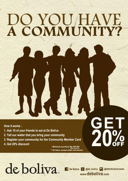 Register your community and get 20% discount @de_boliva @debolivaicecream ! T&C applied. More informations : 031 502 5566 #bolivapromo #deboliva #instaboliva #cafe #lowfat #icecream #surabaya