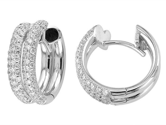 18K white gold huggies earring set with 1.18carat diamonds