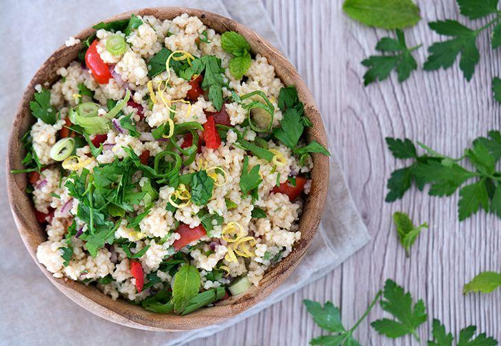couscous salat med den skønneste dressing - opskrift
