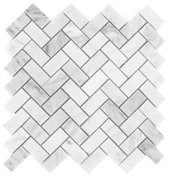 Carrara White Marble Honed Herringbone Mosaic Tile, Box of 5 Sq. Ft. contemporary-wall-and-floor-tile