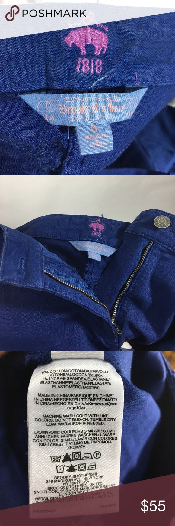 """Brooks Brothers royal blue/purple skinny pants Adorable stretchy skinny pants by Brooks Brothers. 5 pocket style, zip fly with button closure. They are in between a royal blue and purple. Great color!! Size 6. Leg inseam is 29.5"""", waist is 15.5"""" flat across waistband and front rise is 9.5"""".   98% Cotton and 2% spandex blend. I bought them with the intention of wearing them a couple of times but never did! Brooks Brothers Pants Skinny"""