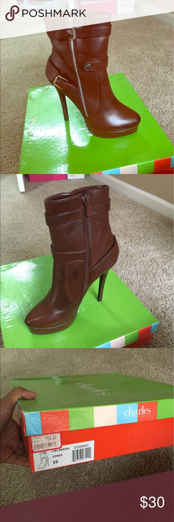 Charles David Women's Boots Designer: Charles David. Size 10. Color: Cognac with silver accents. Charles David Shoes Heeled Boots