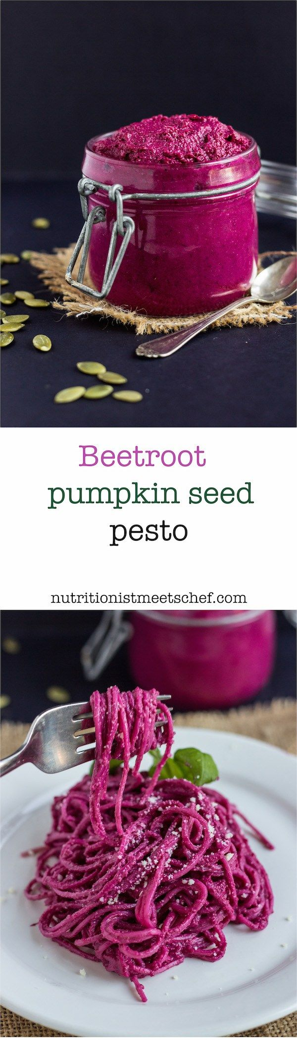 A vibrant and flavoursome beetroot pumpkin seed pesto. Great with chicken, pasta or add it to your salad.