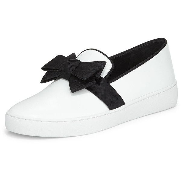 Michael Kors Collection Val Runway Bow Skate Shoe ($310) ❤ liked on Polyvore featuring shoes, sneakers, optic white, michael kors sneakers, michael kors, white shoes, round toe shoes and white slip on shoes