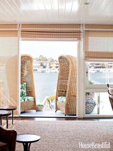 Vintage wicker chairs on the deck of a Newport Beach, California house. Design: Peter Dunham.