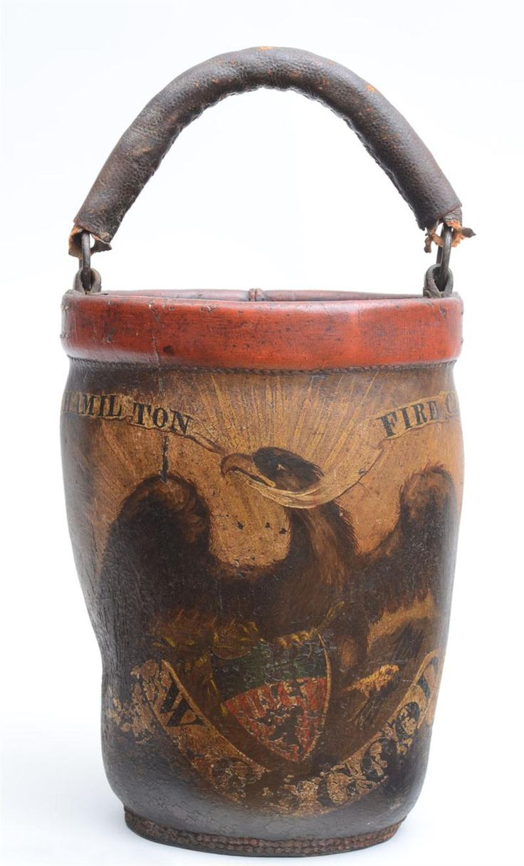 Huge old hand carved wood federal eagle folk art wooden eagle wall - American Painted Leather Fire Bucket Centered By An Eagle Clasping Arrows And The Shield Of