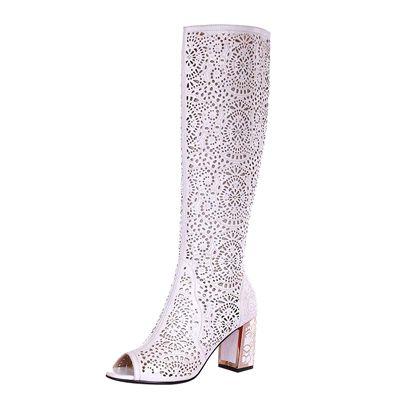 Женские высокие летние сапоги на каблуке 7 см