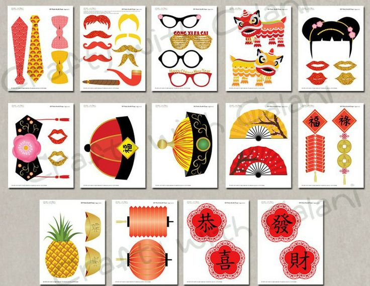 Chinese New Year printable photobooth props