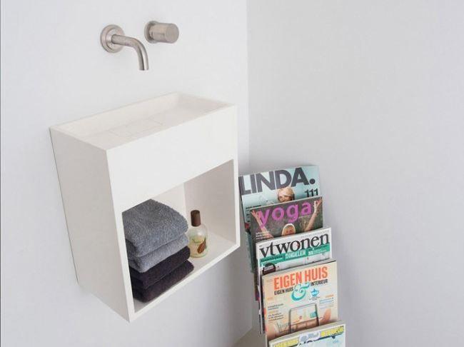 Lave-mains suspendu en Solid Surface® avec porte-serviettes COCOON SAN JORDI II - Cocoon