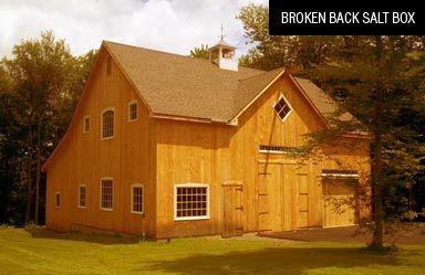 Broken Back Salt-Box Post Beam Barn Kit - Barn Building Kits - Timber Frame Plans