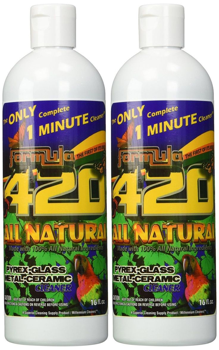 ALL NATURAL Formula 420 pirex-glass metal-ceramic cleaner 2 Bottles 16 Ounces...