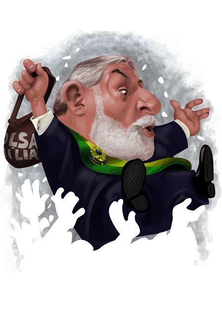 #Caricatura de Luís Inácio #Lula da Silva, presidente o país, reeleito, governou de 01/01/2003-01/01/2011.