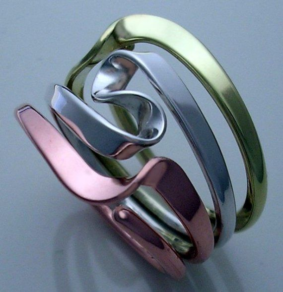 Tesla Inspired Tri-Metal Ring. Silver, Copper, Brass.