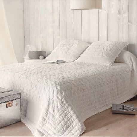 Couvre lit blanc romantique en coton