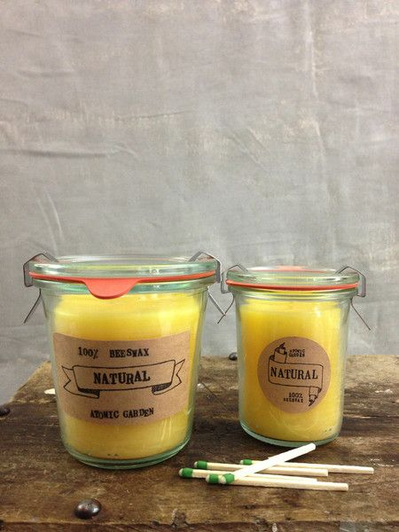 Hand poured beeswax candle in a reusable weck glass jar. Beeswax burns longer then any other wax and emits negative ions which in turn actually clean the air.  * after candle has burned down... clean out reusable jar by pouring hot water into container to remove excess wax.