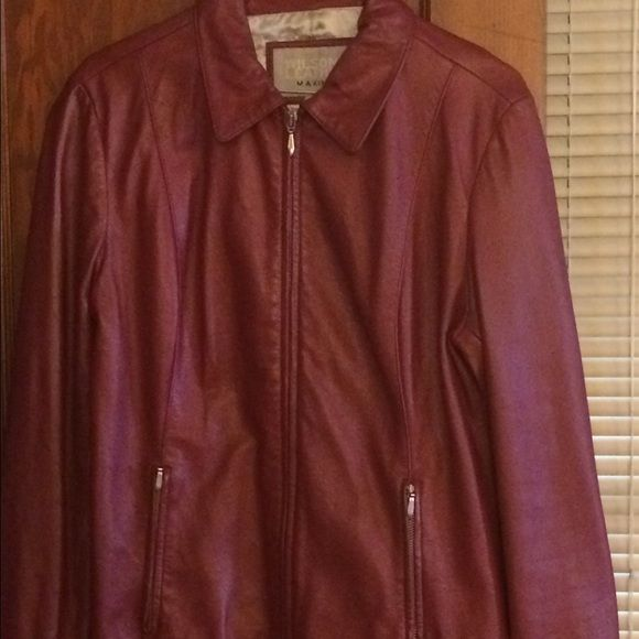 Red leather jacket, gently worn Leather jacket great for fall weather. Gently worn, no tears in leather or lining. Smoke free, pet free home. Wilsons Leather Jackets & Coats