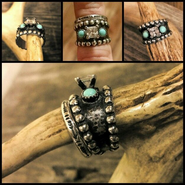 Custom Western Engagement Ring & Wedding Band with Arrows & Turquoise - solid .925 sterling silver by KreativeRustics