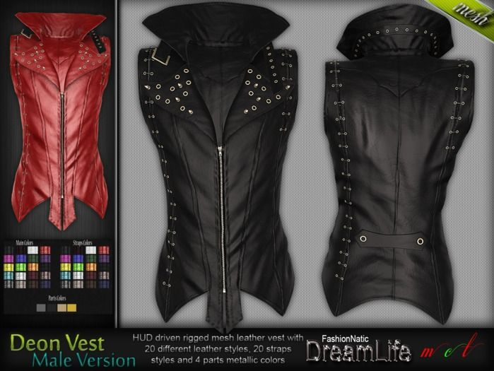 MESH Deon Gothic Spiked Vest * Rigged (HUD Driven) *DreamLife - FashionNatic*