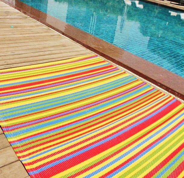 #rainbow #plastic #rugs #interiordesign #stripes #bedroom #bathroom #outside