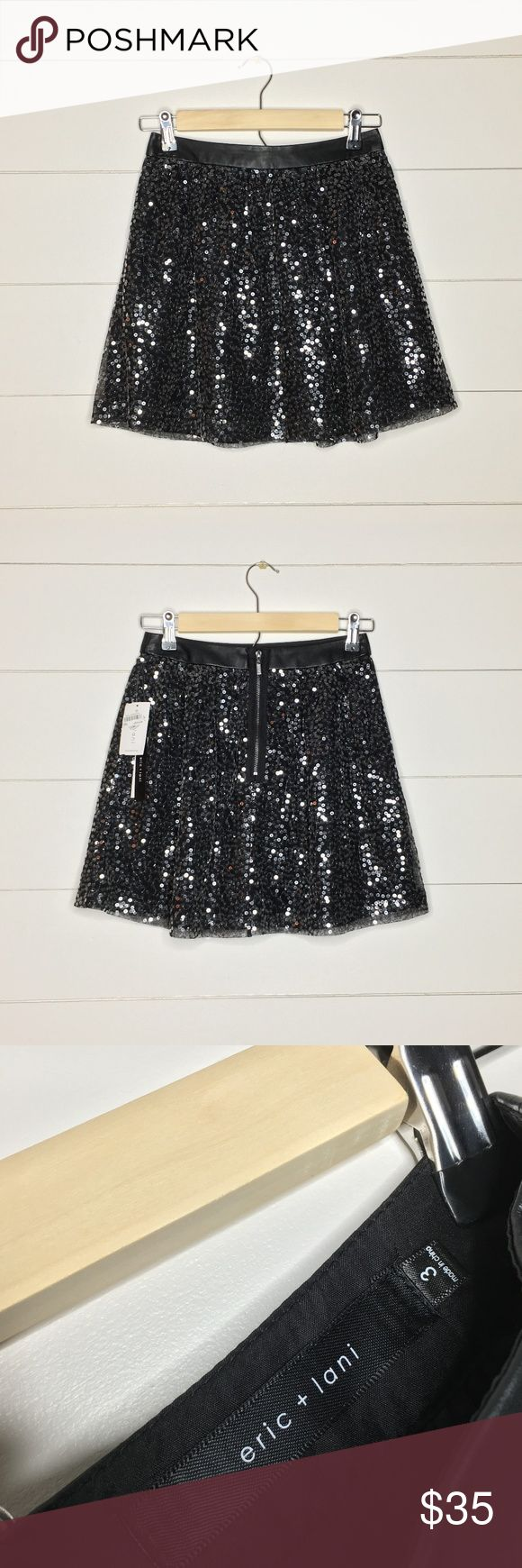 NWT Black Sequin CIRCLE SKIRT ** CURRENTLY ACCEPTING ALL OFFERS!  NWT eric + lani black sequin circle skirt! This skirt is on the shorter side with a flattering zip-up waistband and is super cute for parties or nights out. eric + lani Skirts Circle & Skater