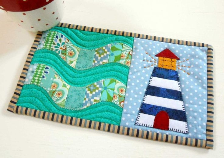 """Lighthouse Mug Rug by designer The Patchsmith./ beginner/ QUILTING pattern / 9.5"""" x 5.5"""""""