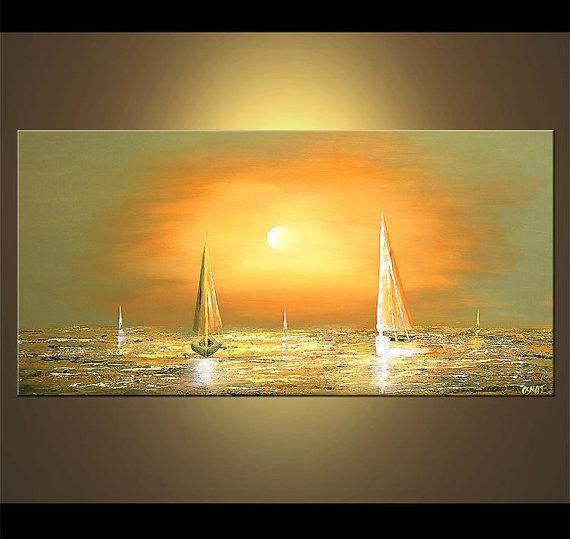 Segelboot Malerei abstrakte seelandschaft Original von OsnatFineArt