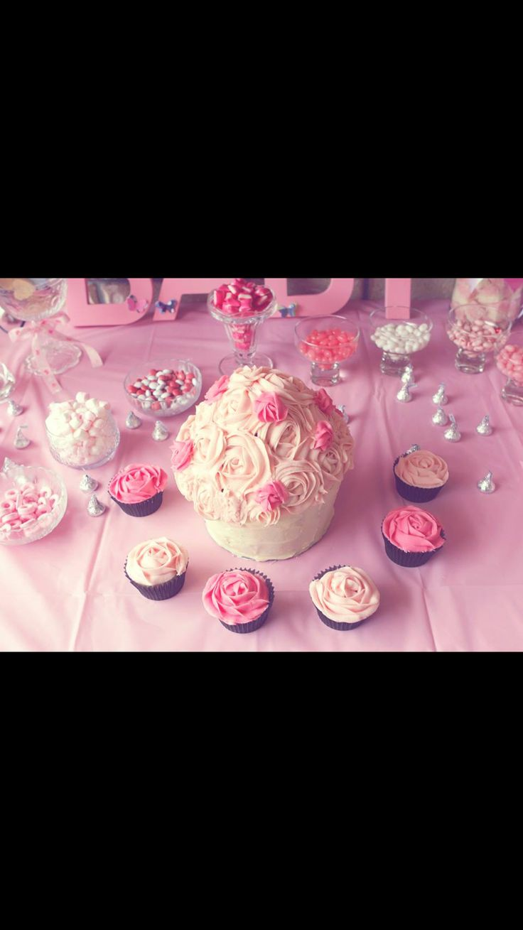 Pink baby shower lolly table