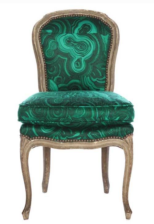 Tony Duquette Malachite Inspired chair.