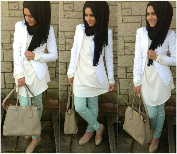 Dina Toki-O in mint pants, white blazer and a loose cream blouse. Love her!
