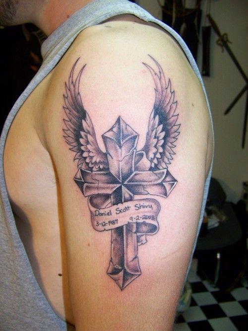 arm banner tattoos for men | cross tattoo for men. jesus on cross tattoo.