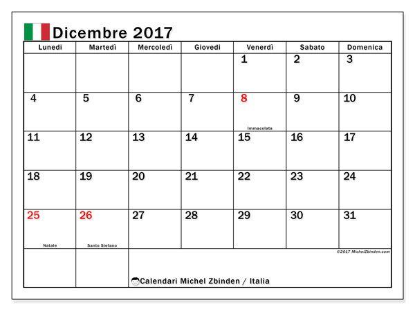 Calendario per stampare dicembre 2017 - Giorni festivi in Italia