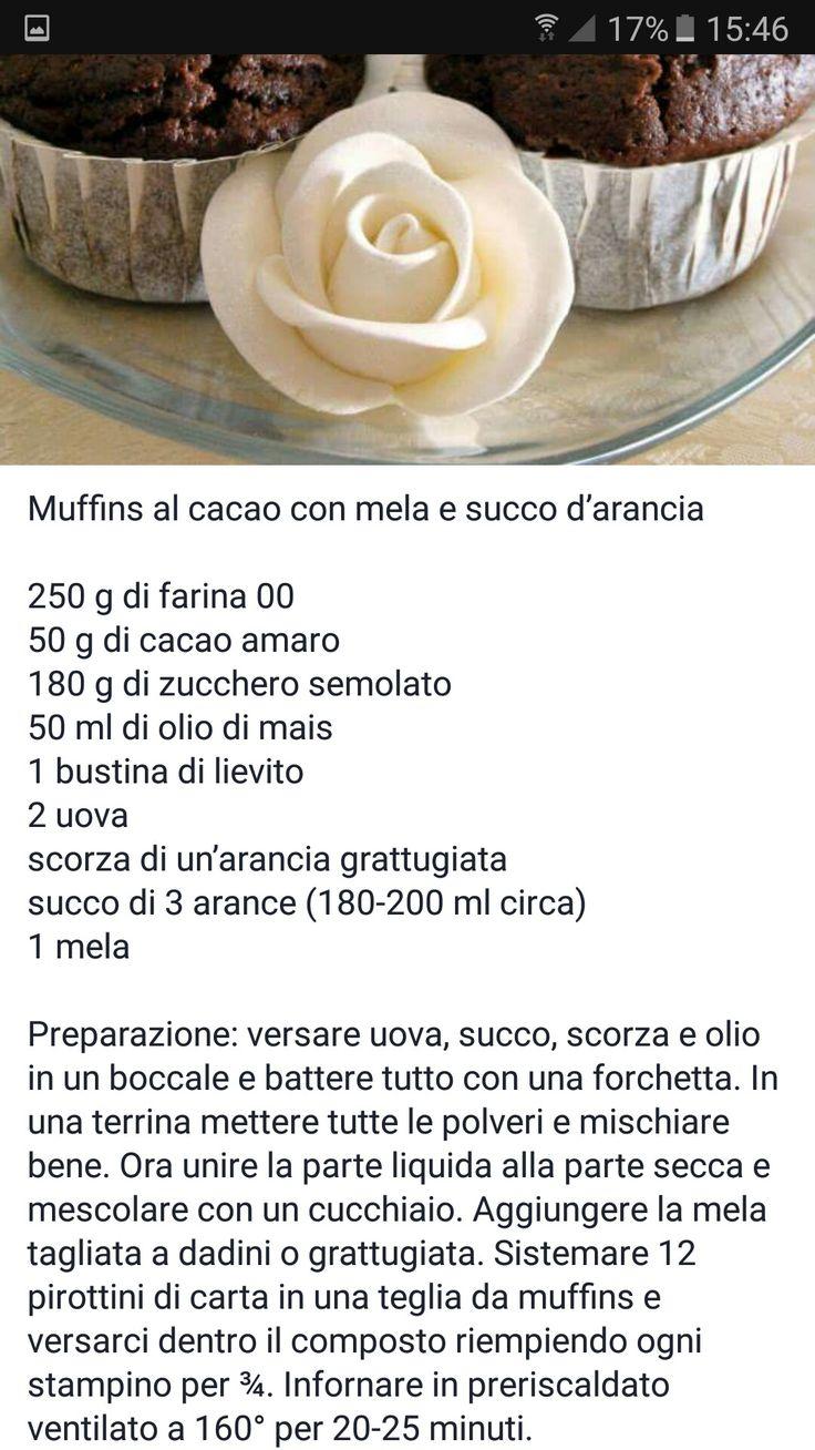 Muffin al cacao mele e succo d'arancia