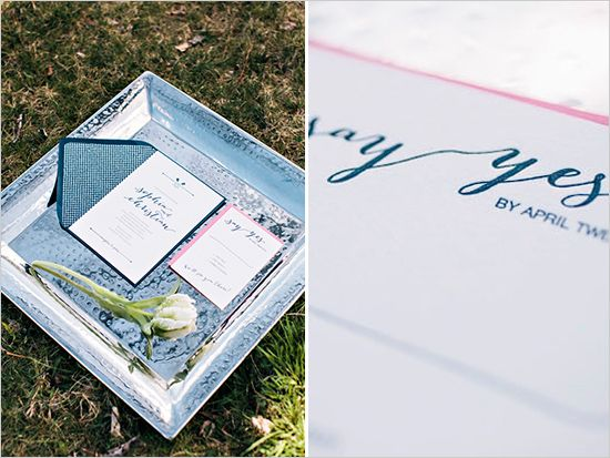 navy and pink wedding invites by Inkprint letterpress