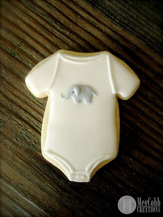 Baby Onesie Sugar Cookies with Grey Elephant by MegCobbCreations