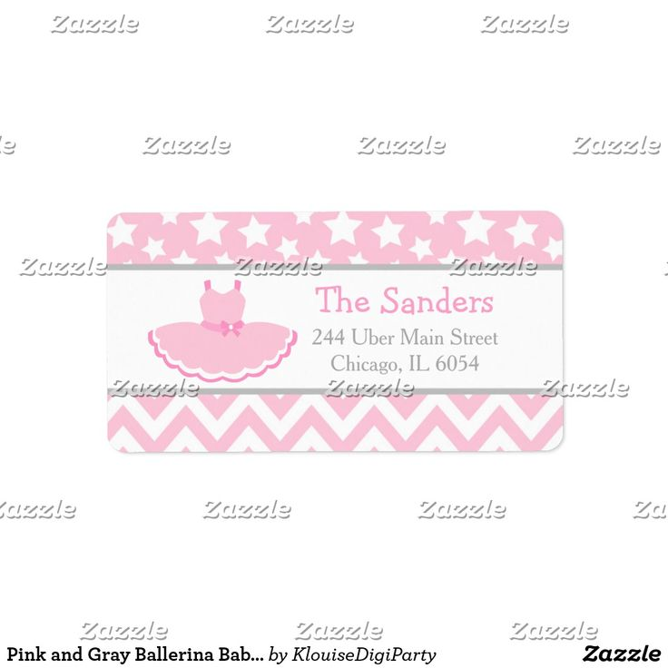 Pink and Gray Ballerina Baby Shower Label